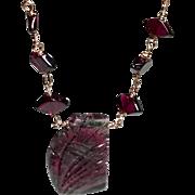 Carved Watermelon Tourmaline Gem Slice Rose Gold filled Red Garnets Necklace, October Birthstone, large Gem Slice