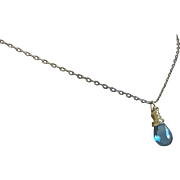 London blue Topaz Necklace, Silver Solitaire necklace, December birthstone by Gem Bliss Jewelry