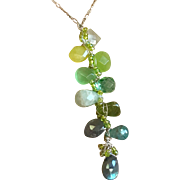 Green cascade necklace, Labradorite, Apatite, Aquamarine, Peridot, statement, gemstone, Prasiolite, Boho Necklace layering necklace