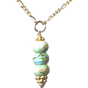 Gold filled Opal Drop Pendant Necklace