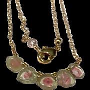 Tourmaline Bar Necklace, Watermelon Slice Tourmaline Necklace, Dainty Gold filled Necklace, Tourmaline choker