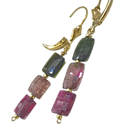 Tourmaline pink and green watermelon colors Silver drop Earrings
