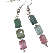 Tourmaline Teal blue, pink and green watermelon colors Silver drop Earrings