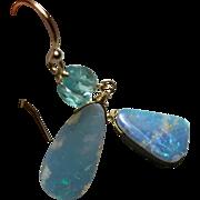 Boulder Opal Gold filled Apatite dangle drop Earrings by Gem Bliss Jewelry