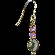 Topaz and Watermelon Tourmaline Slice drop earrings, Pink, Green, Black Gem Tourmaline Gold filled Tourmaline and Topaz Earrings