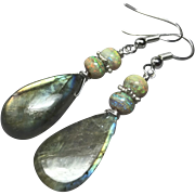 Green Gold Labradorite Opal Sterling Silver Drop Earrings by Gem Bliss Jewelry
