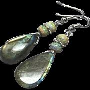 Green Gold Labradorite Opal Sterling Silver Drop Earrings by Gem Bliss Jewelry
