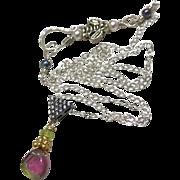 Watermelon Tourmaline necklace, October birthday, Gem Slice, Silver necklace, sparkling pendant Necklace