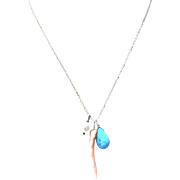 Sterling Silver Turquoise Coral and Pearl Charms pendant Necklace