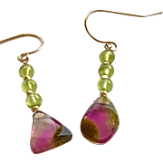 Rose Gold Pink and green Tourmaline earrings, Watermelon Tourmaline Slice Earrings by Gem Bliss Jewelry