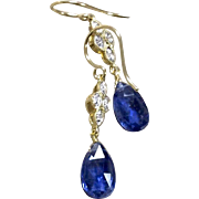 Diamond and Kyanite 18K yellow Gold blue Earrings