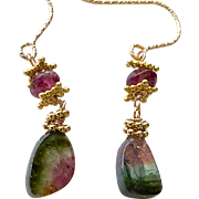Watermelon Tourmaline Slice earrings Classic Sandia Watermelon Tourmaline Gold filled earrings by Gem Bliss Jewelry