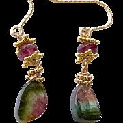 Watermelon Tourmaline Slice earrings Classic Sandia Watermelon Tourmaline Gold filled earrings by Gem Bliss Jewelry