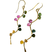 Tourmaline Twig earrings, Rainbow Tourmaline Branch earrings, Gold filled Dangle drops Gem Bliss jewelry,