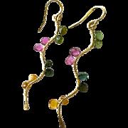Tourmaline Twig earrings, Rainbow Tourmaline Branch earrings, Gold filled Dangle drops Gem Bliss jewelry,