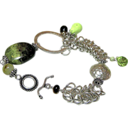 Modern bracelet, Silver bracelet, links and charms, Gaspeite Smoky Quartz, Camp Sundance Gem Bliss