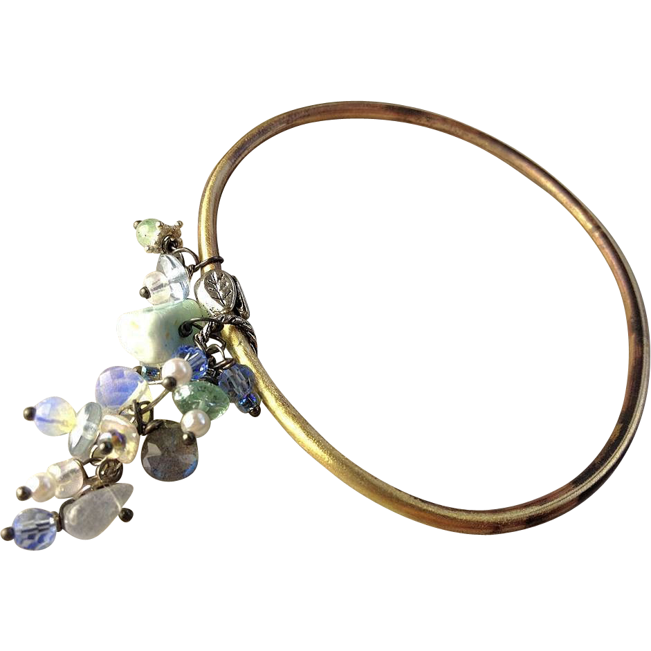 Bronze, Oval, Bangle bracelet, Larimar, Labradorite bracelet, Opalite, Pearl charms, Camp Sundance, charm bracelet
