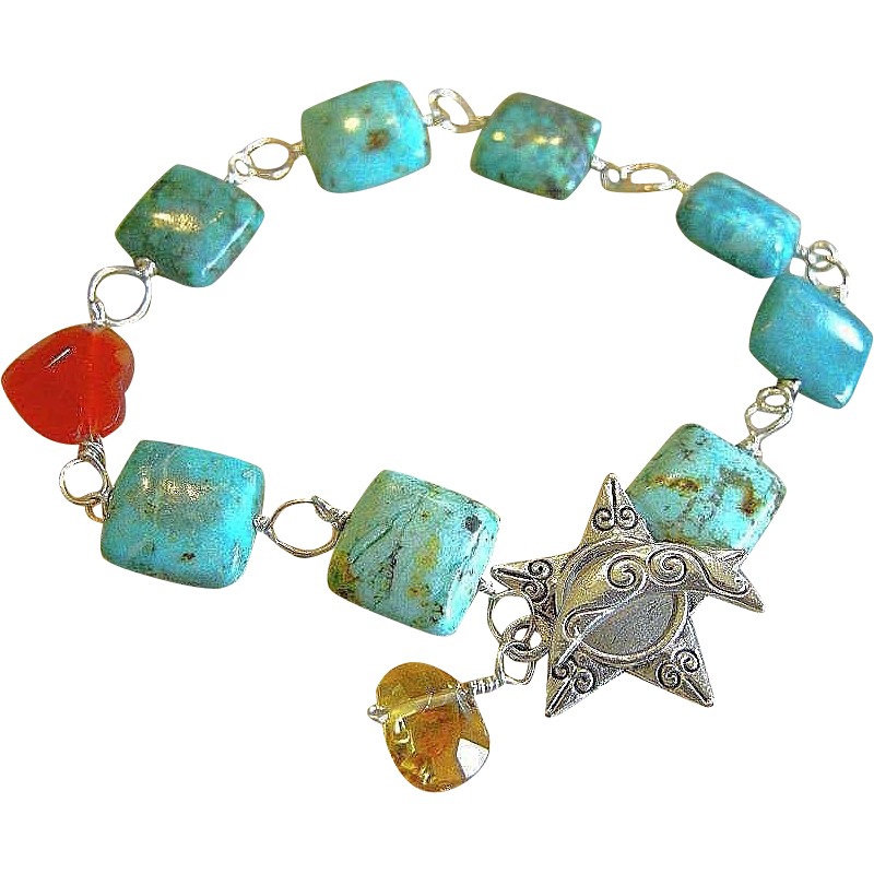 Turquoise bracelet, Rustic, Silver charm bracelet, Camp Sundance, urban cowgirl bracelet