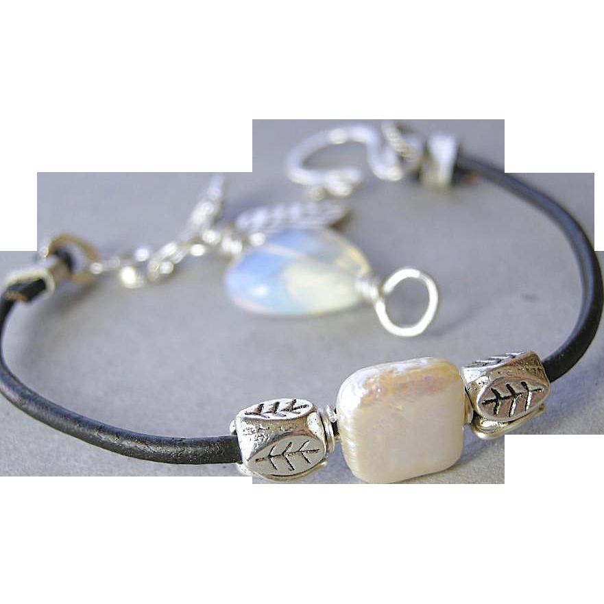 Captive Pearl bracelet, Leather Opalite bracelet, Silver charm bracelet, Camp Sundance Gem Bliss