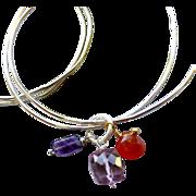 Silver bangle bracelets, Amethyst charm bangles, Carnelian Quartz charm bracelet, Camp Sundance jewelry