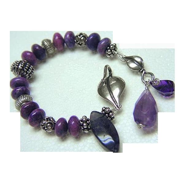 Sugilite, Silver Bracelet, purple charm Bracelet, Camp Sundance, Amethyst, Gem Bliss