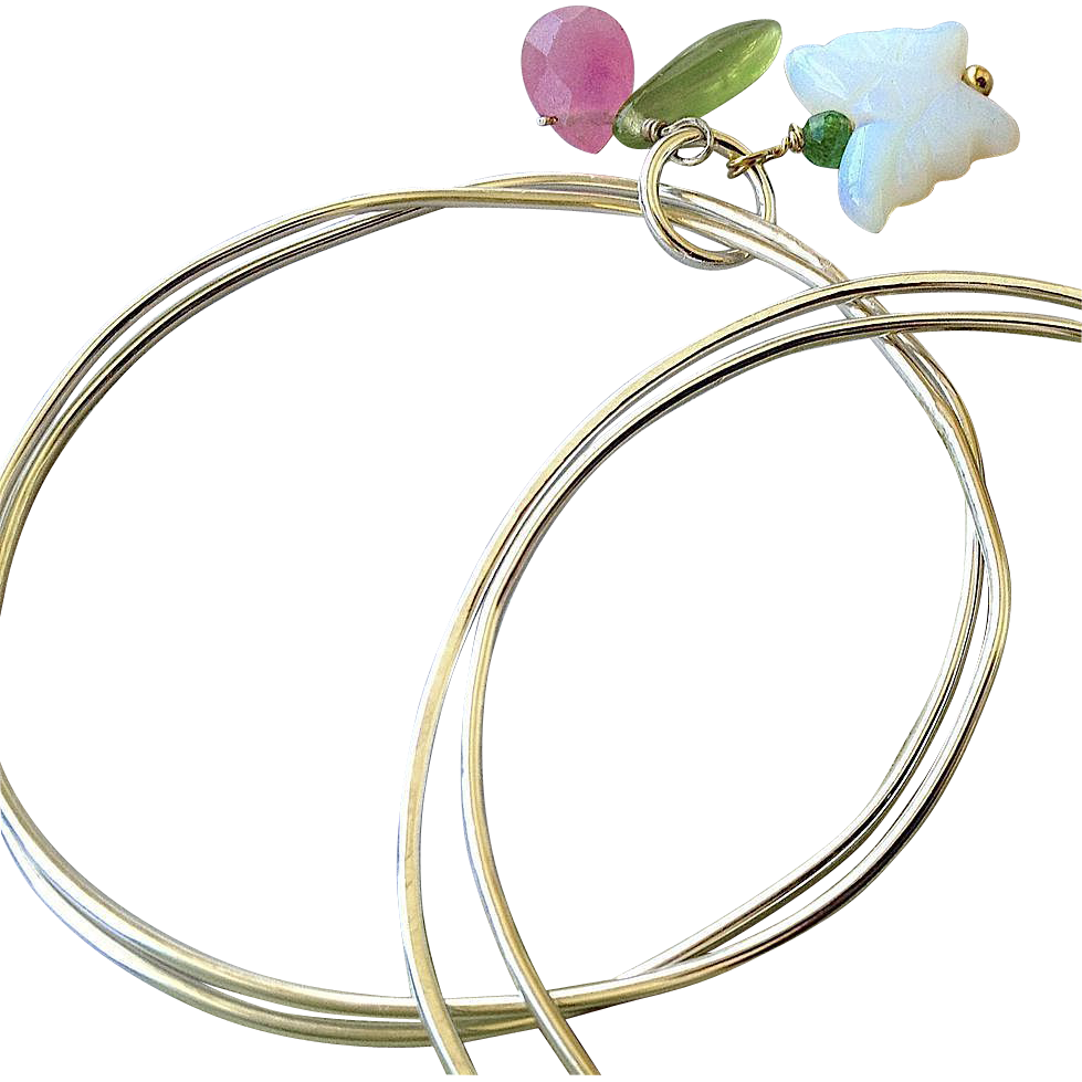 Sterling silver bangles, charmed bangle bracelets, layering bracelets, Camp Sundance, Butterfly garden