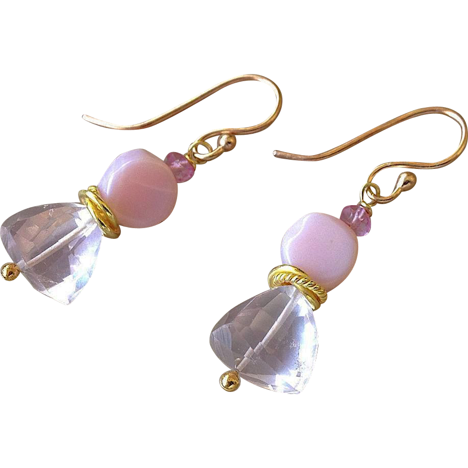 Pink Peruvian Opal, Rose Topaz, drop earrings, Bridal, Rose Gold filled, Camp Sundance jewelry, Gem Bliss