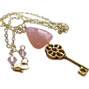 Key charm necklace, Pink Chalcedony pendant necklace, Camp Sundance charm necklace