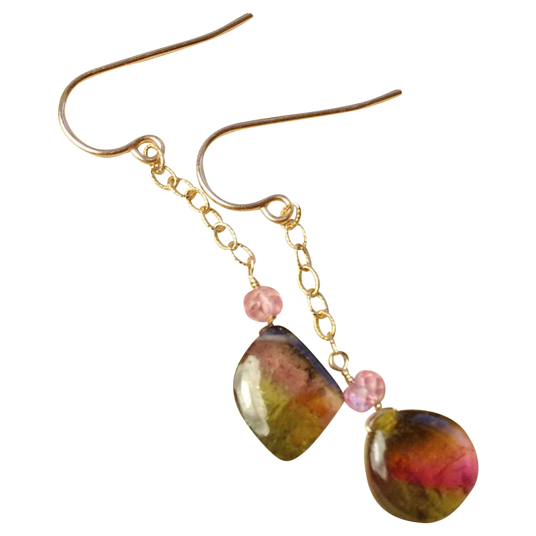 Watermelon Tourmaline earrings, 14K Rose Gold earrings, Tourmaline earrings, Camp Sundance gem slice earrings