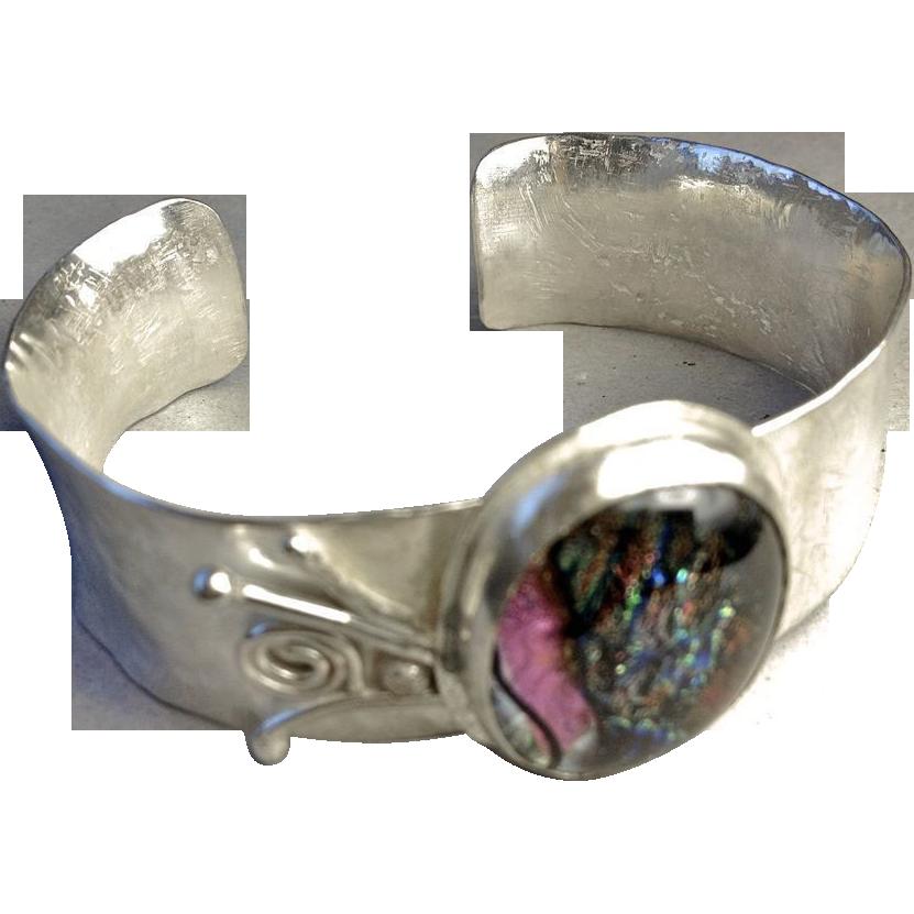 Silver Cuff, Dichroic bracelet, unique bracelet, Camp Sundance jewelry, Silver Dichroic Bracelet, Gem Bliss