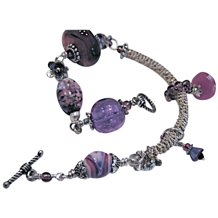 Lampwork glass bracelet, Silver charm bracelet, unique, OOAK, Camp Sundance jewelry, Gem Bliss