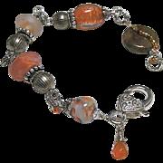 Lampwork Silver bracelet, Glass Silver charm Bracelet, OOAK, Camp Sundance jewelry, Gem Bliss