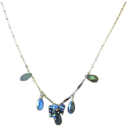 Silver Labradorite Necklace Labradorite cluster toggle necklace Gem Bliss