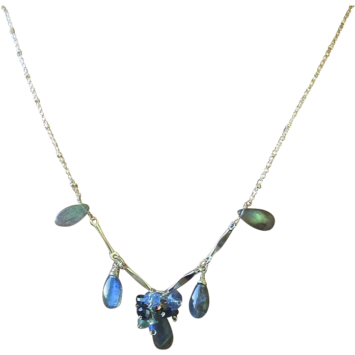 Silver Labradorite Necklace Labradorite cluster toggle necklace Gem Bliss
