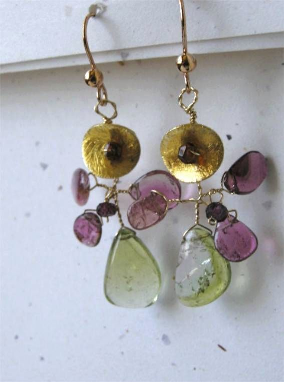 Tourmaline, Botanical Earrings, Camp Sundance drop earrings Unique, Tourmaline drop earrings Gem Bliss