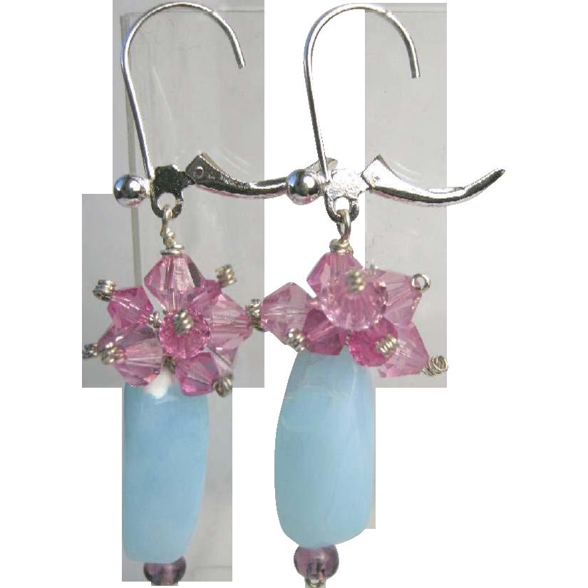 Peruvian Opal Silver earrings, pink crystal clusters, Camp Sundance, Gem Bliss
