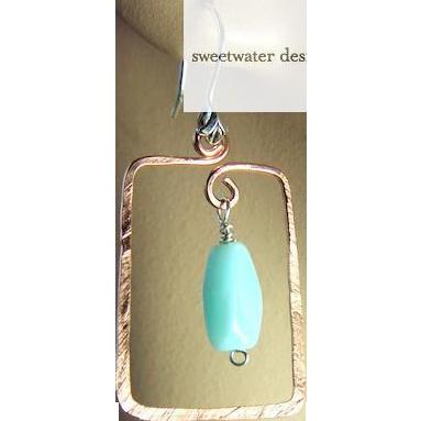 Square Copper Hoops, Peruvian Opal,Copper earrings,  Camp Sundance, Gem Bliss