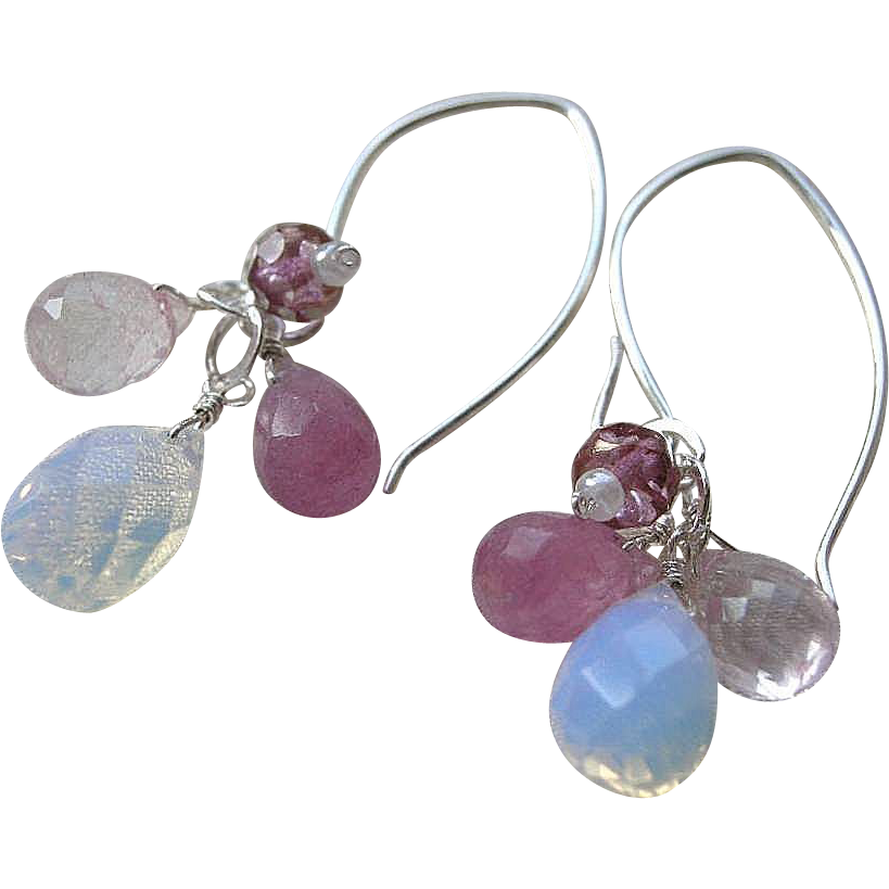 Silver chandeliers, Opalite earrings, rose pink Opalite drops Camp Sundance Gem Bliss