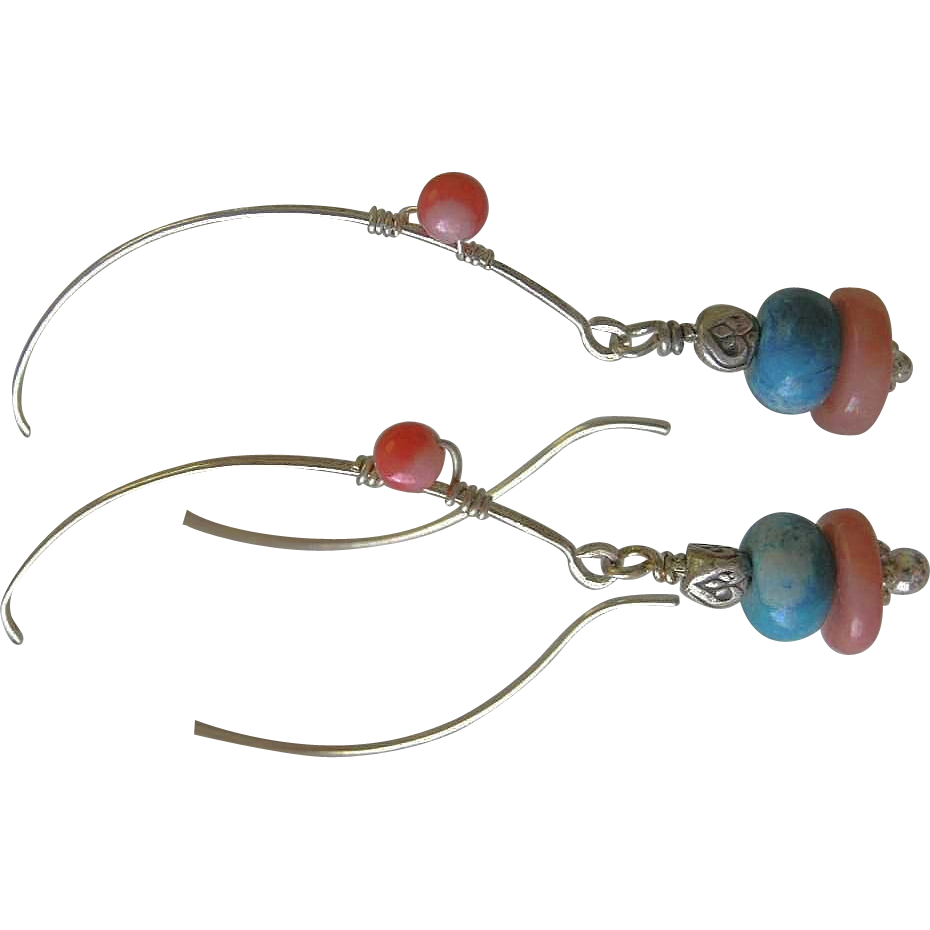 Turquoise Coral Hoops, Silver hoop earrings, dangle earrings, Camp Sundance, Gem Bliss