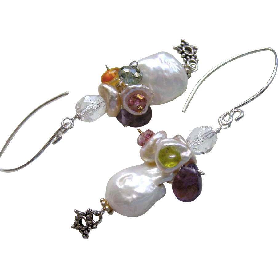 Baroque Pearl earrings, Silver Pearl earrings, Bridal Pearls, Amethyst, Camp Sundance, Gem Bliss,wedding earrings