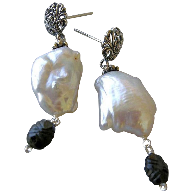 Silver Tourmaline earrings, Baroque Pearl, Pearl Earrings, ornate Silver earrings, Camp Sundance jewelry