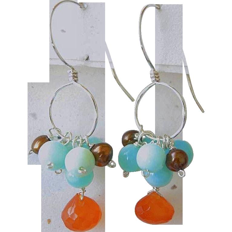 Peruvian Opal Silver earrings, Carnelian, Chocolate Pearls, Camp Sundance, Gem Bliss, designer earrings