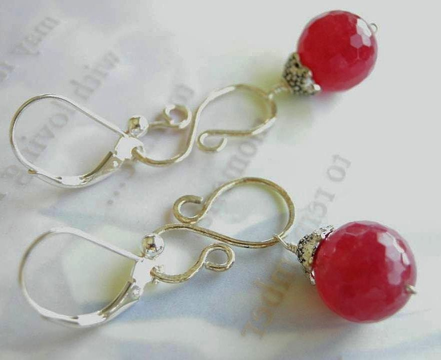Cherry berry Silver earrings scroll drops Camp Sundance