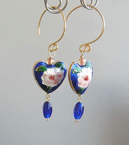 Magnolia Earrings, blue earrings, enamel hearts, flower earrings, designer mini hoops, Blue Magnolia hoop Earrings