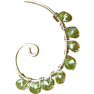 Peridot hoops, Green Earrings, Spiral earrings, Gold filled hoops, hand wrapped hoops, Gem Bliss