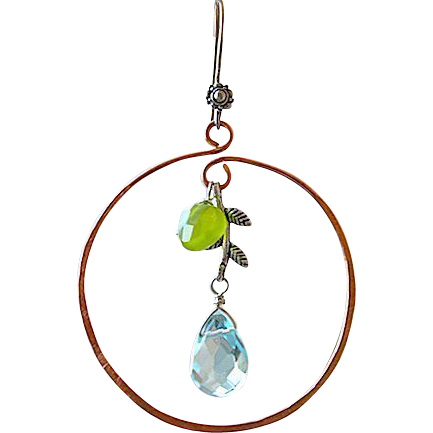 Copper hoop earrings Botanical aqua green Silver Camp Sundance