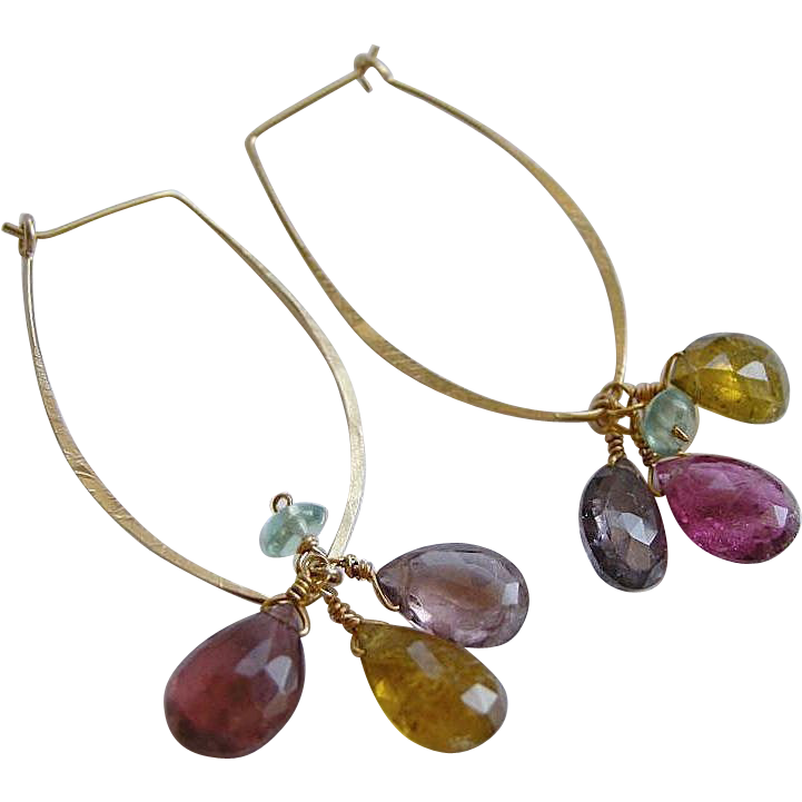 Tourmaline Hoop earrings, Designer Petal hoops, Gold filled, Camp Sundance jewelry,Gem Bliss