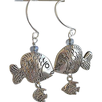 Fish Hoop earrings, Designer Silver hoops, fish charms, Camp Sundance, dangle silver earrings, Gem Bliss