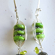 Weave wrap Sterling Silver apple green rondelles fire Agate earrings