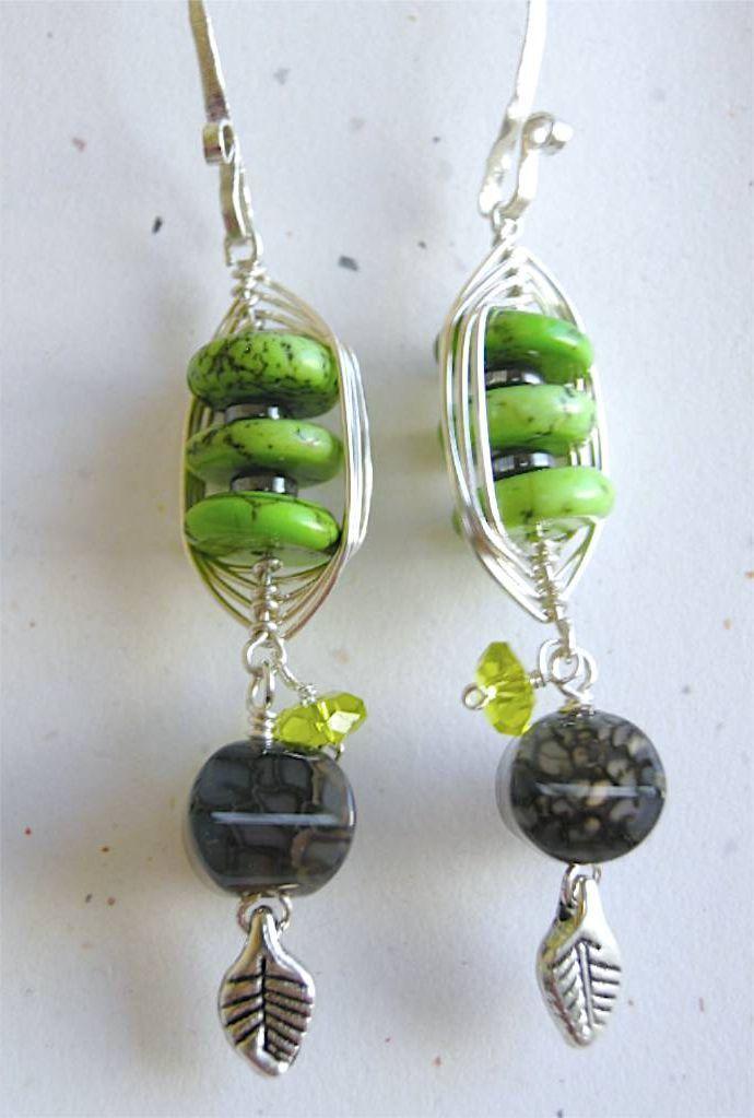 Weave wrap Sterling Silver apple green rondelles fire Agate earrings